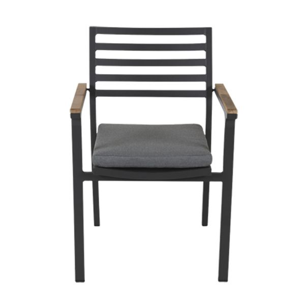 LOTUS OUTDOOR ALUMINIUM DINING CHAIR CHARCOAL (INCL GREY CUSHION)