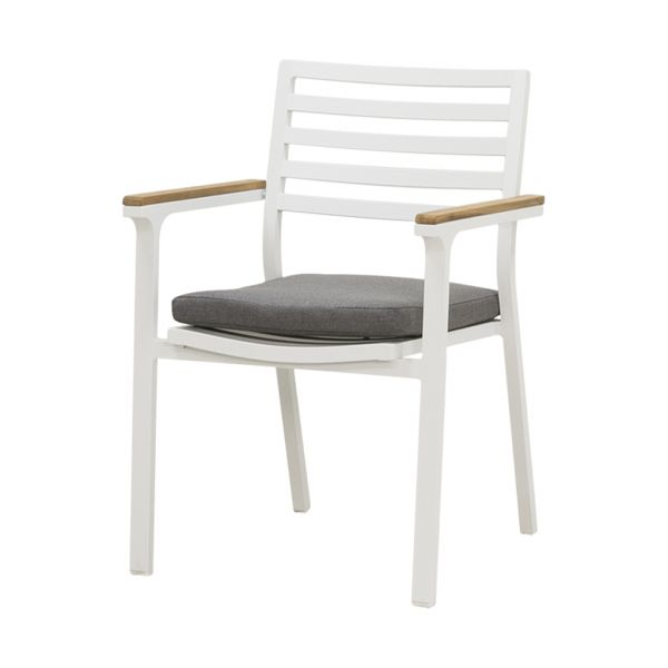 LOTUS OUTDOOR ALUMINIUM DINING CHAIR WHITE (INCL GREY CUSHION)
