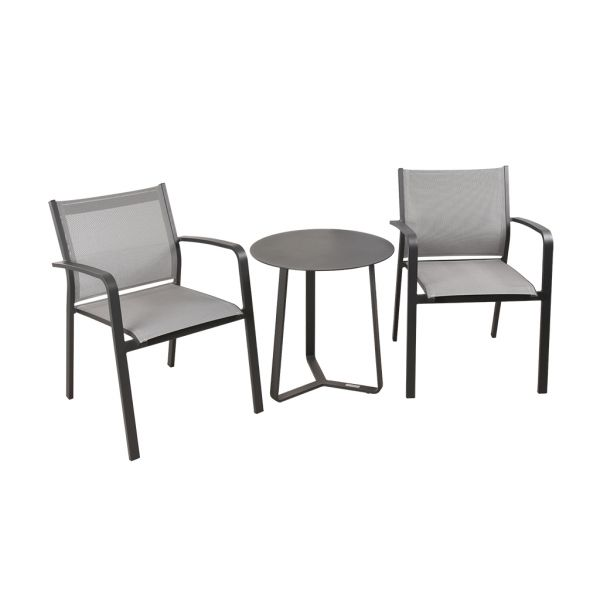 LUIS CHAIR APOLLO TABLE CHARCOAL-3PC OUTDOOR BALCONY SETTING