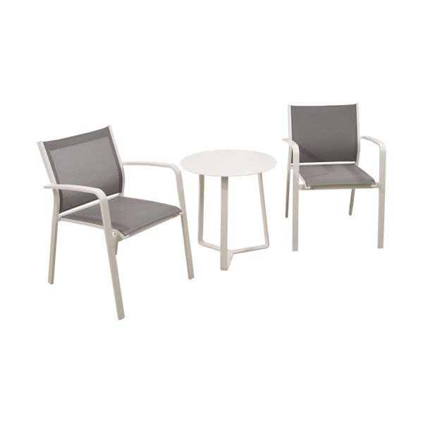 LUIS CHAIR APOLLO TABLE WHITE-3PC OUTDOOR BALCONY SETTING