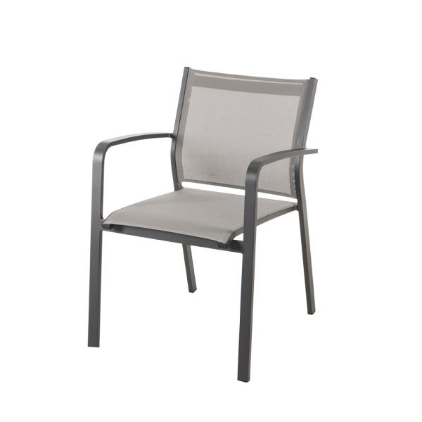 LUIS OUTDOOR TEXTILENE DINING CHAIR CHARCOAL/SILVER BLACK