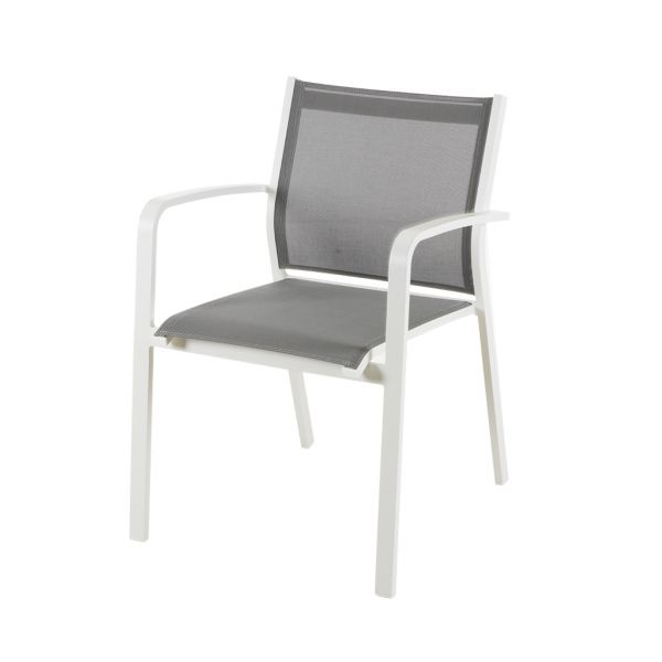LUIS OUTDOOR TEXTILENE DINING CHAIR WHITE/SILVER BLACK