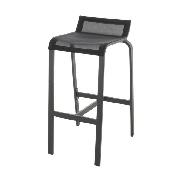 LUIS OUTDOOR TEXTILENE BAR CHAIR ARMLESS CHARCOAL/BLACK