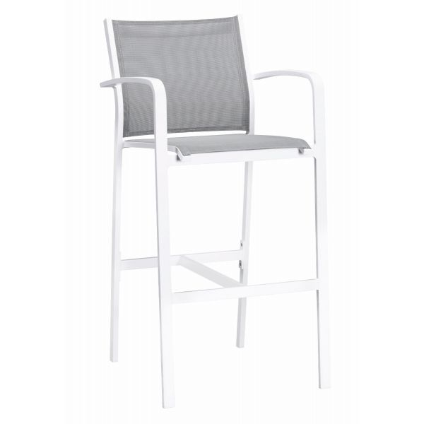 LUIS OUTDOOR TEXTILINE BAR STOOL WITH ARM  WHITE/SILVER BLACK