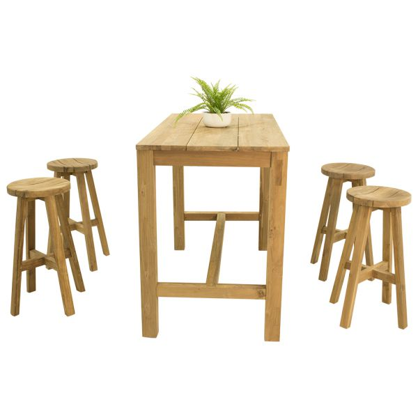 Miles Teak Bar Table & Cara Teak Bar Stool  -5pc Outdoor Dining Setting
