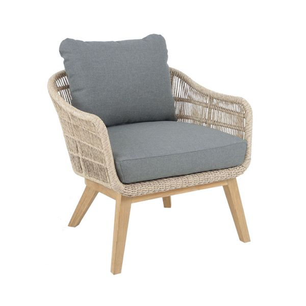 MONSOON OUTDOOR WICKER/TEAK ONE SEATER SOFA NATURAL