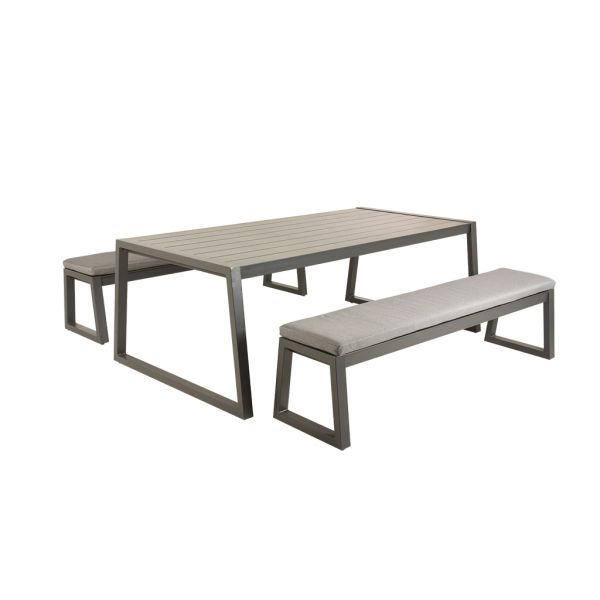 MONZA 160CM TABLE WITH 136CM BENCH - 3PC OUTDOOR DINING SETTING