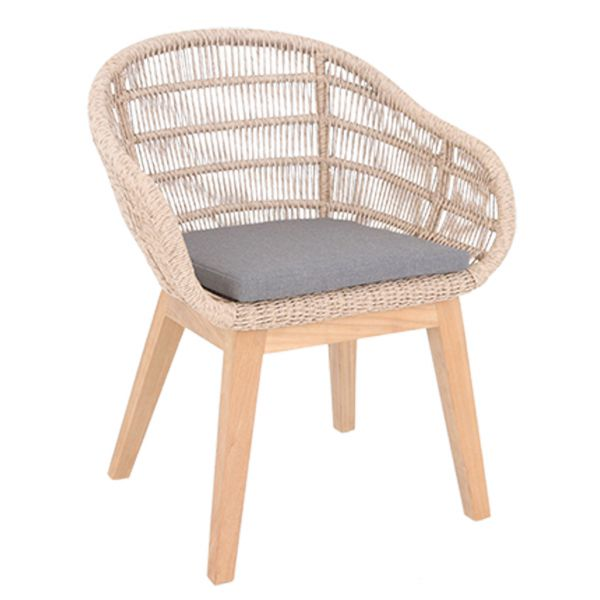 MONSOON OUTDOOR TEAK LEG NATURAL WICKER DINING CHAIR
