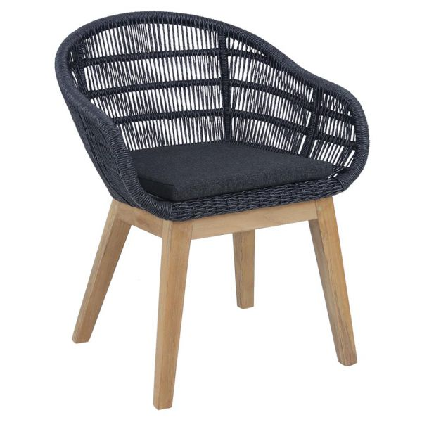 MONSOON OUTDOOR TEAK LEG BLACK WICKER DINING CHAIR