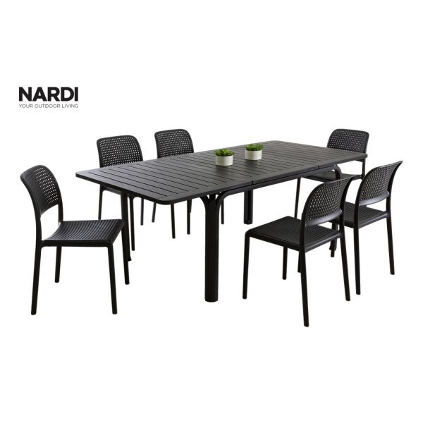 NARDI ALLORO EXTENSION TABLE & NARDI BORA ARMLESS CHAIR IN ANTHRACITE-7PC OUTDOOR DINING SETTING
