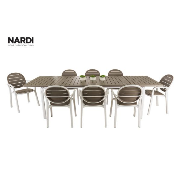NARDI ALLORO EXTENSION TABLE & NARDI PALMA CHAIR IN WHITE AND LIGHT BROWN-9PC OUTDOOR DINING SETTING