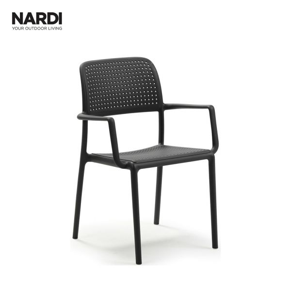 BORA OUTDOOR RESIN DINING CHAIR WITH ARM ANTHRACITE