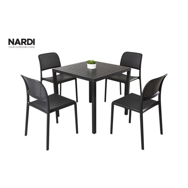 NARDI CUBE TABLE & NARDI BORA ARMLESS CHAIR IN ANTHRACITE -5PC OUTDOOR DINING SETTING
