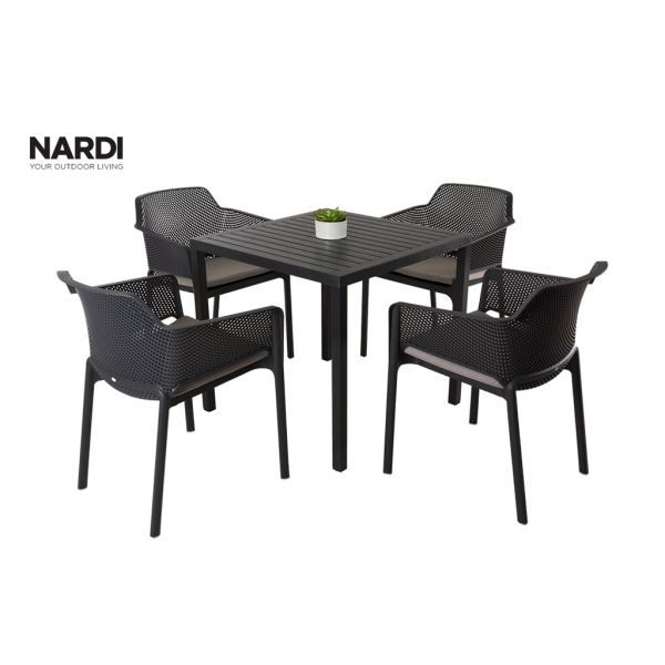 NARDI CUBE TABLE & NARDI NET CHAIR IN ANTHRACITE-5PC OUTDOOR DINING SETTING