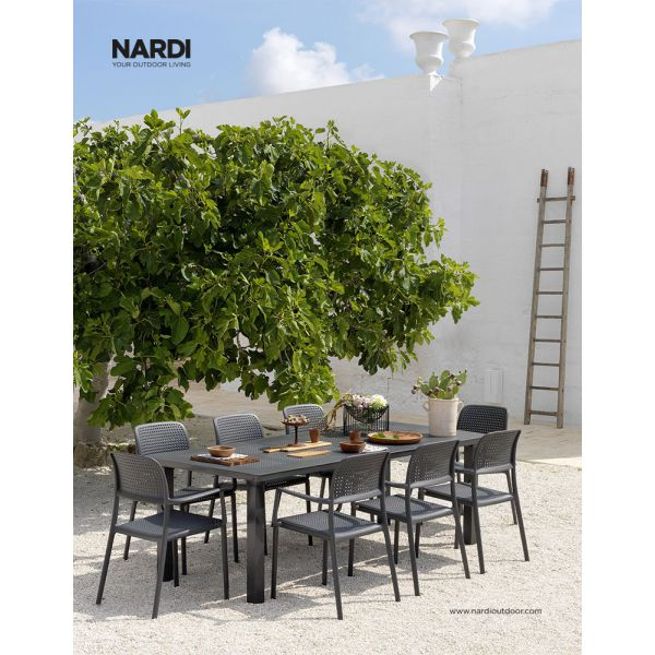 NARDI LEVANTE EXTENSION TABLE & NARDI BORA ARM CHAIR ANTHRACITE-7PC OUTDOOR DINING SETTING