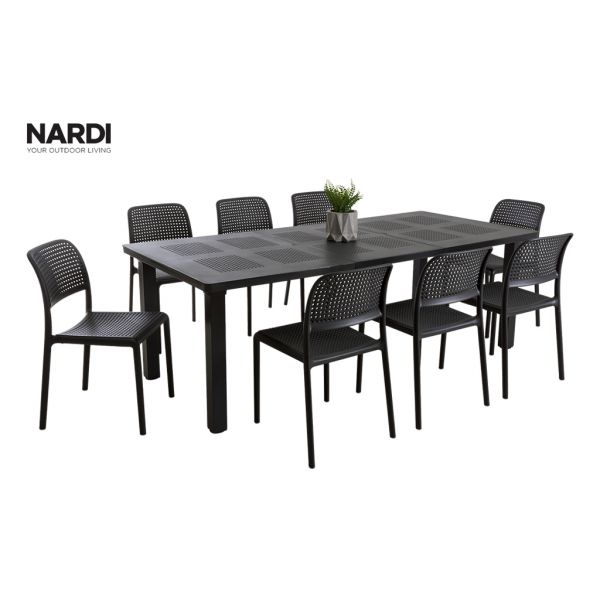 NARDI LEVANTE EXTENSION TABLE & NARDI BORA CHAIR IN ANTHRACITE- 9PC OUTDOOR DINING SETTING