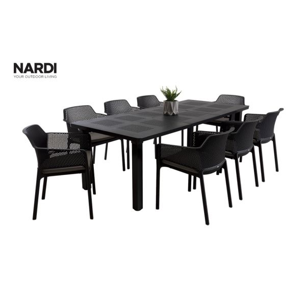 NARDI LEVANTE EXTENSION TABLE & NARDI NET CHAIR  IN ANTHRACITE-9PC OUTDOOR DINING SETTING