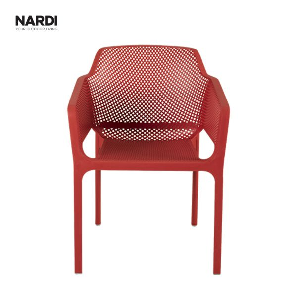 NET OUTDOOR RESIN DINING CHAIR RED (CORELLO)