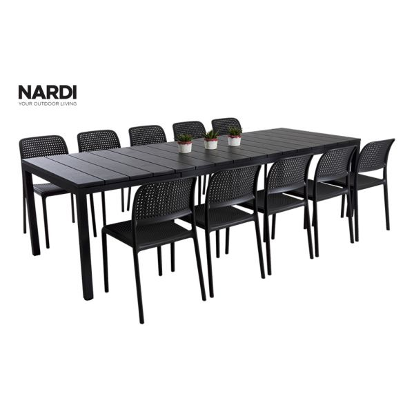 NARDI RIO EXTENSION TABLE & NARDI BORA ARMLESS CHAIR IN ANTHRACITE-11PC OUTDOOR DINING SETTING