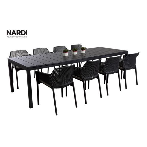 NARDI RIO EXTENSION TABLE & NARDI NET CHAIR IN ANTHRACITE-9PC OUTDOOR DINING SETTING