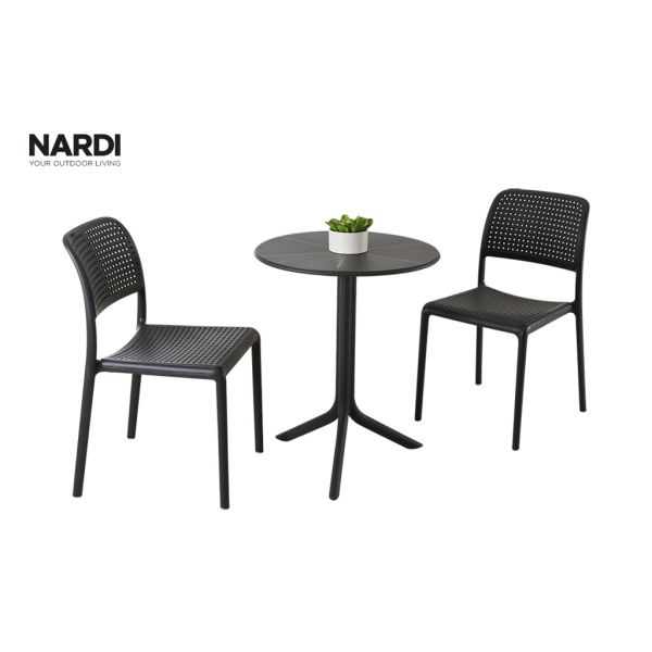 NARDI SPRITZ TABLE & NARDI BORA ARMLESS CHAIR IN ANTHRACITE-3PC OUTDOOR DINING SETTING
