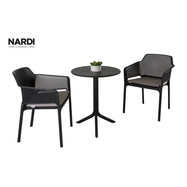 NARDI SPRITZ TABLE & NARDI NET CHAIR IN ANTHRACITE-3PC OUTDOOR DINING SETTING
