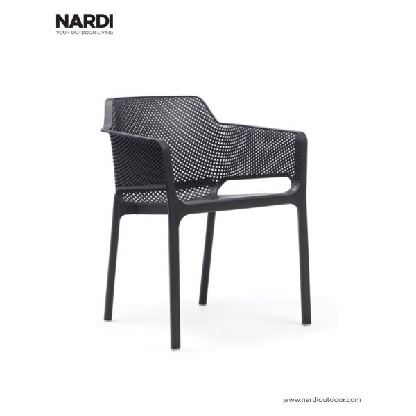 NARDI NET OUTDOOR RESIN DINING CHAIR ANTHRACITE