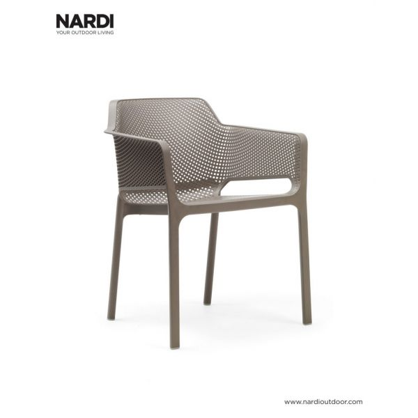 NET OUTDOOR RESIN DINING CHAIR LIGHT BROWN