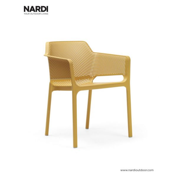 NET OUTDOOR RESIN DINING CHAIR MUSTARD