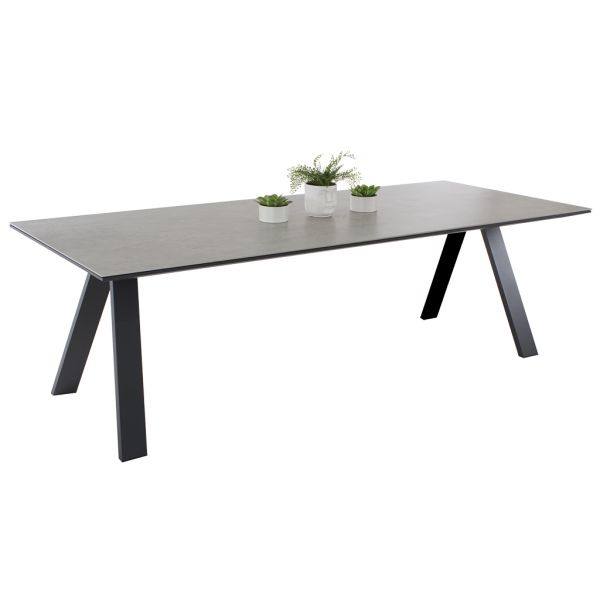 NEVERLAND OUTDOOR SPANISH CERAMIC DINING TABLE CHARCOAL/FUSION BETON 240X100CM