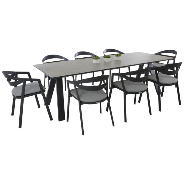 Neverland Ceramic Table & La Vida Chair 9pce in Charcoal