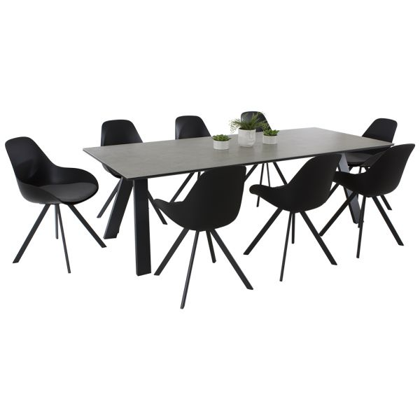 Neverland Ceramic Table & Neverland Chair 9pce in Charcoal