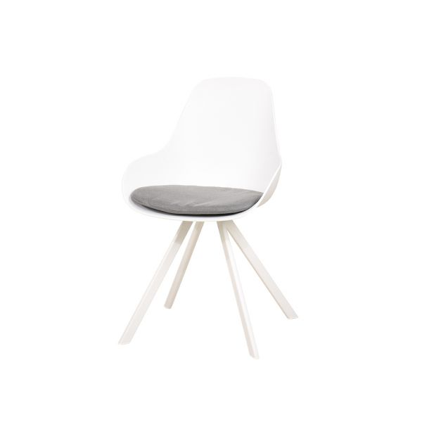 NEVERLAND OUTDOOR RESIN SEAT DINING CHAIR WHITE WITH CUSHION