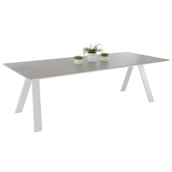 NEVERLAND OUTDOOR SPANISH CERAMIC DINING TABLE WHITE/FUSION BETON 240X100CM
