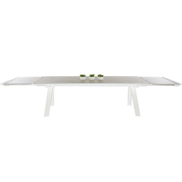 NEVERLAND OUTDOOR SPANISH CERAMIC EXTENSION DINING TABLE WHITE 240/350 x 100 cm