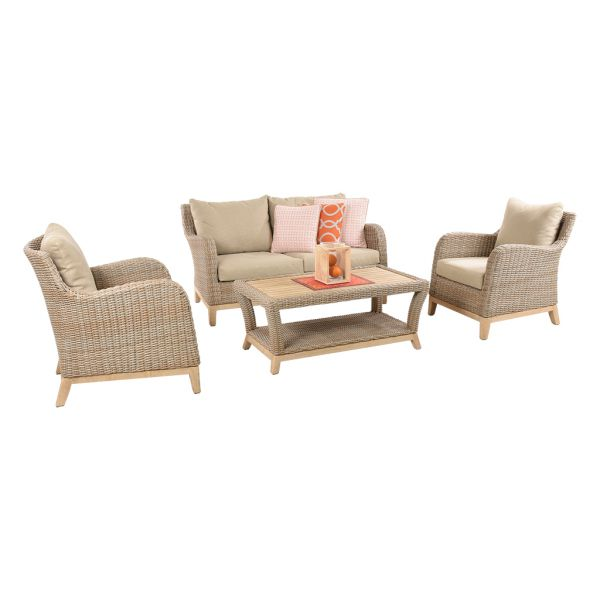 NOOSA 4 SEATER OUTDOOR WICKER LOUNGE SETTING