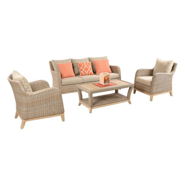 NOOSA 5 SEATER OUTDOOR WICKER LOUNGE SETTING