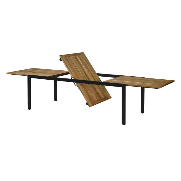 ONTARIO OUTDOOR RECYCLED TEAK EXTENSION TABLE WITH STAINLESS STEEL LEG CHARCOAL  220/340X100X76CM