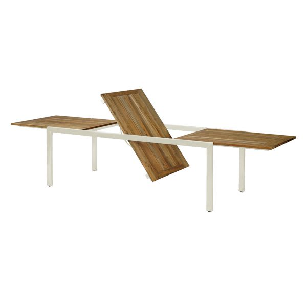 ONTARIO OUTDOOR RECYCLED TEAK EXTENSION TABLE WITH STAINLESS STEEL LEG WHITE  220/340x100x76CM