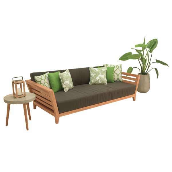 OTTAWA OUTDOOR TEAK DAYBED NATURAL TEAK CHARCOAL ACRYLIC CUSHION