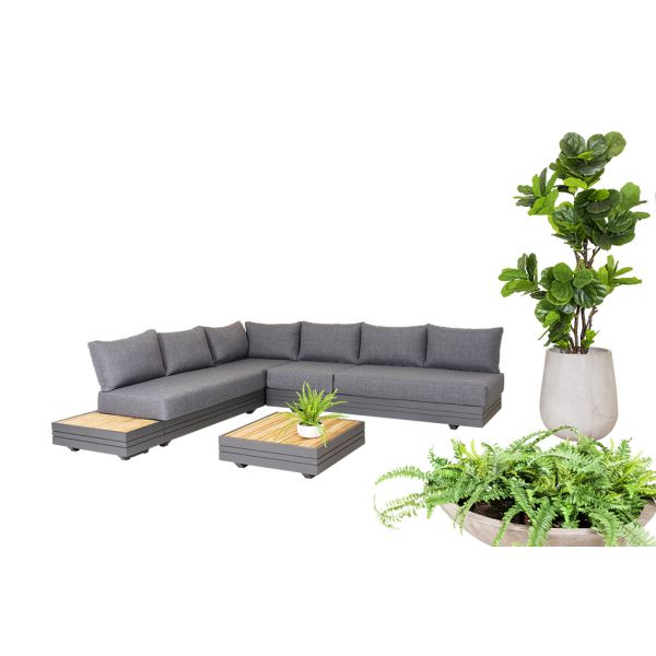HANNOVER 6 SEATER OUTDOOR ALUMINIUM MODULAR LOUNGE SETTING CHARCOAL-WITH TWO COFFEE TABLES