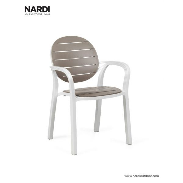 PALMA OUTDOOR RESIN DINING CHAIR WHITE AND LIGHT BROWN
