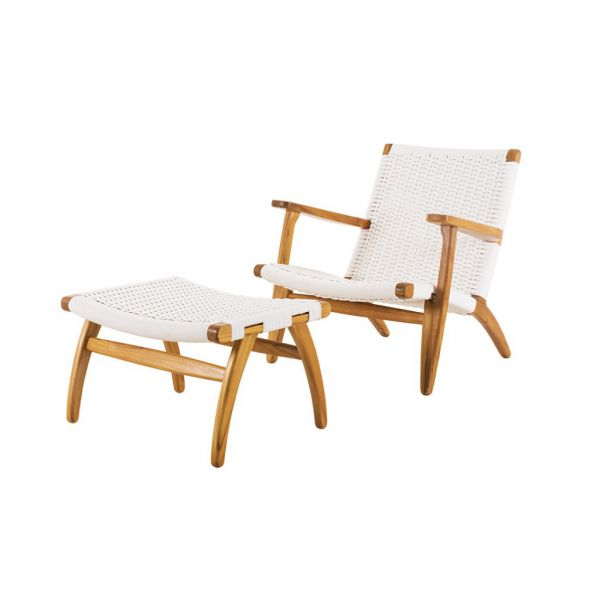 PANAMA 2PC OUTDOOR TEAK WICKER BALCONY SETTING WHITE