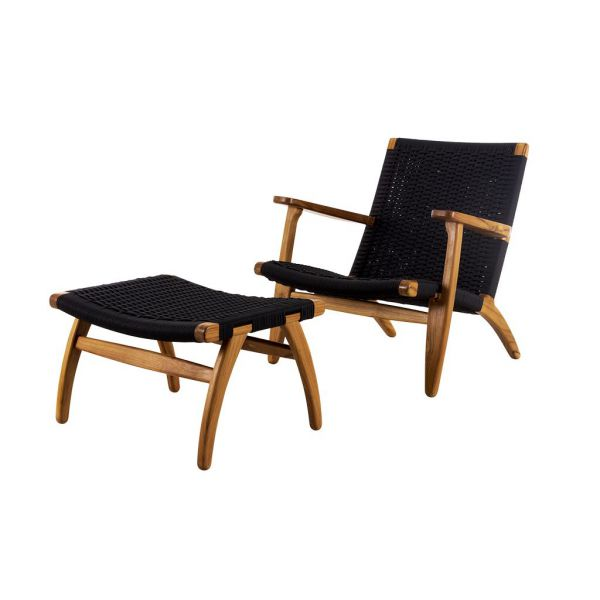 BALCONY PANAMA RELAX TEAK 2 PCE CHAIR & FOOTREST BLACK