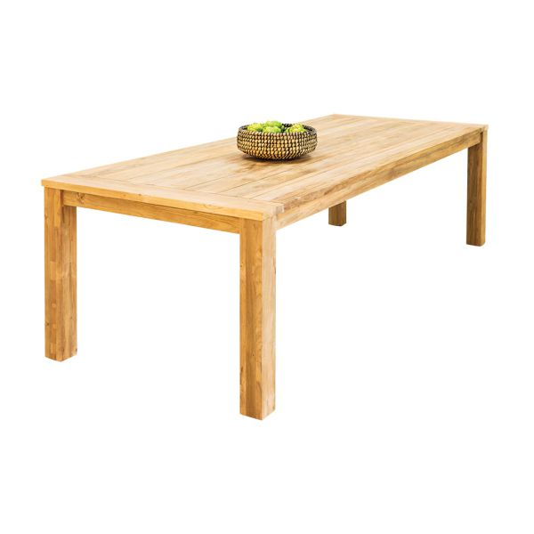 POLLY OUTDOOR RECYCLED TEAK DINING TABLE NATURAL 250 x 100 x 76CM