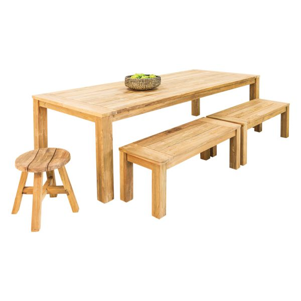Polly Recycled Teak Table with Polly Bench & stool-4pc Outdoor Dining Setting