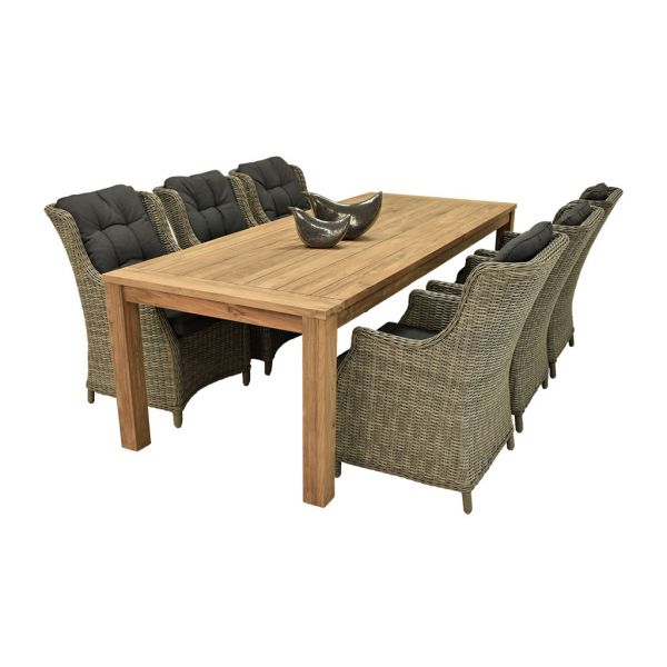 POLLY RECYCLED TABLE 250 CM WITH DARWIN WICKER DINING CHAIR -7PCS OUTDOOR DINING SETTING