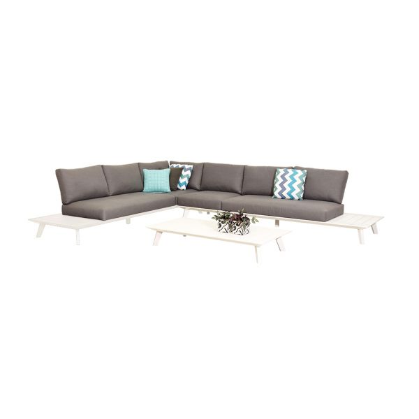 POSITANO 6 SEATER OUTDOOR ALUMINIUM MODULAR LOUNGE SETTING WHITE