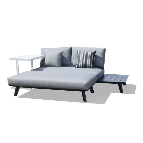 POSITANO OUTDOOR ALUMINIUM DAYBED  CHARCOAL  - TWO SEATER SOFA WITH OTTOMAN
