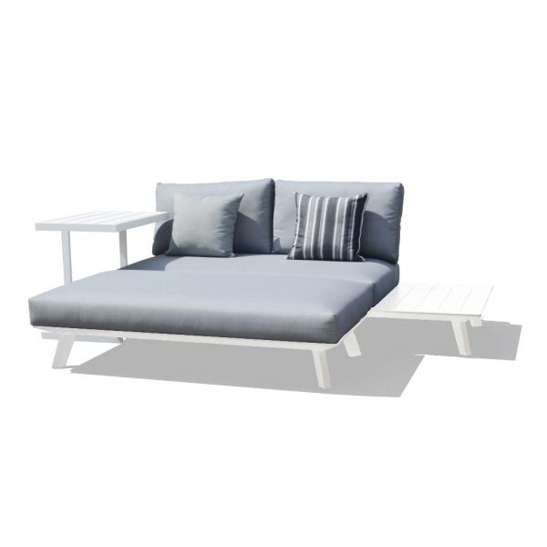 POSITANO OUTDOOR ALUMINIUM DAYBED  WHITE  - TWO SEATER SOFA WITH OTTOMAN